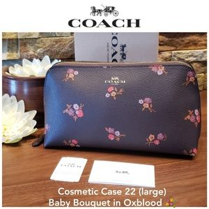 NEW Coach Cosmetic Case 22 (large) in Oxblood